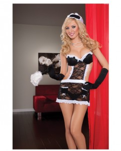 fantasy maid underwire cup lace apron w/headpiece & thong black